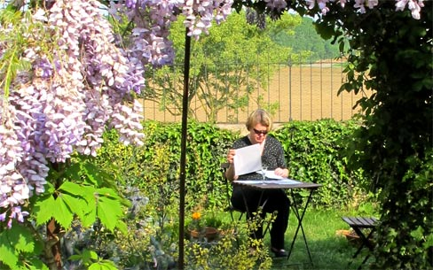 Writing time in the warm spring sunshine