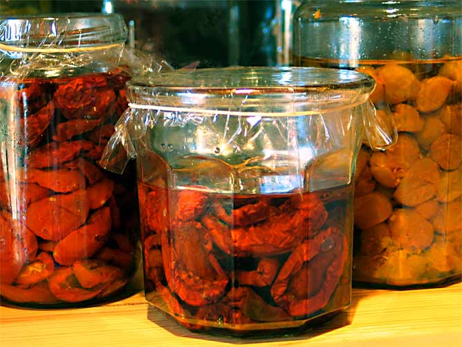 Three varieties of oven-dried tomatoes